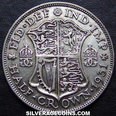 1931 George V British Silver Half Crown