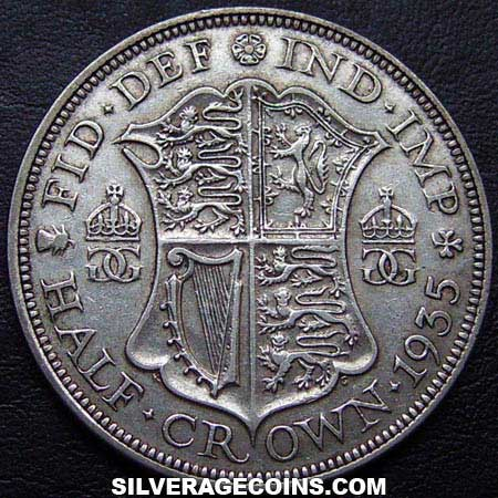 1935 George V British Silver Half Crown