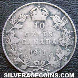 "1911 George V Canadian Silver ""Dime"" 10 cents"