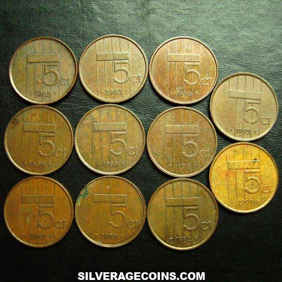 1982-2001 (11) Lot of 11 Different Dates Netherlands Beatrix Bronze 5 Cents