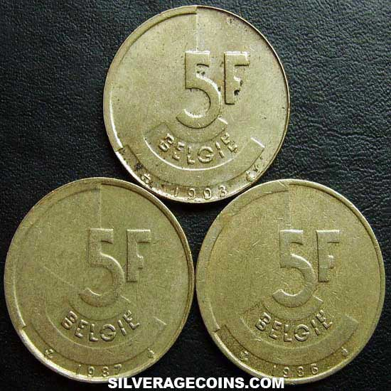 1986-1993 (3) Lot of 3 Different Dates Belgian 5 Francs (Dutch)