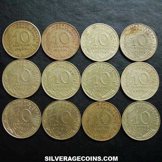1962-2001 (12) Lot of 12 Different Dates French 10 New Cents
