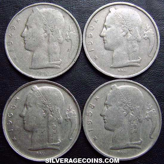 1948-1981 (4) Lot of 4 Different Dates Belgian 5 Francs (Dutch, coin alignment)