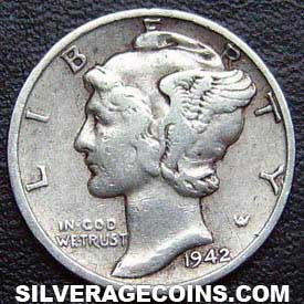 1942 United States Silver Mercury Dime 10 Cents