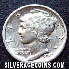 1917 United States Silver Mercury Dime 10 Cents