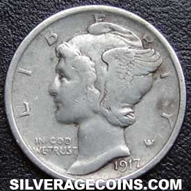 1917D United States Silver Mercury Dime 10 Cents