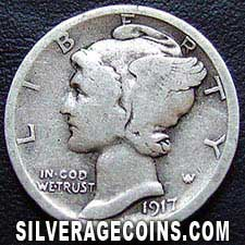 1917S United States Silver Mercury Dime 10 Cents