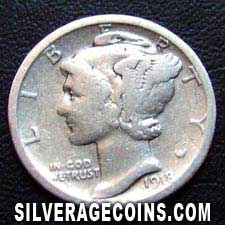 1918S United States Silver Mercury Dime 10 Cents