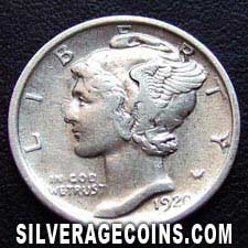 1920 United States Silver Mercury Dime 10 Cents