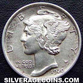 1920 United States Mercury Dime Silver 10 Cents Silveragecoins
