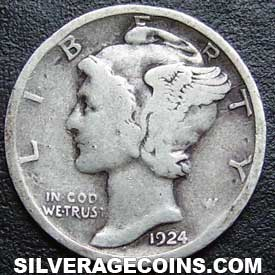 1924 United States Silver Mercury Dime 10 Cents