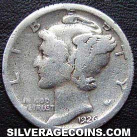 1926S United States Silver Mercury Dime 10 Cents