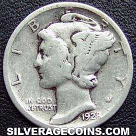 1928 United States Silver Mercury Dime 10 Cents