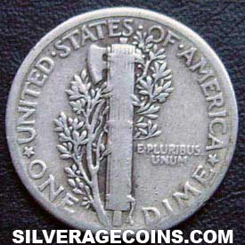 1929 United States Silver Mercury Dime 10 Cents