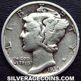 1939 United States Silver Mercury Dime 10 Cents