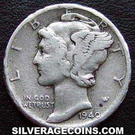 1940D United States Silver Mercury Dime 10 Cents