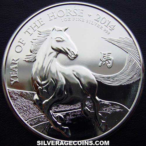 2014 2 Pounds 1 Ounce Silver Lunar (Year of the Horse)