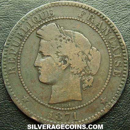 1871A French Bronze 10 Cents