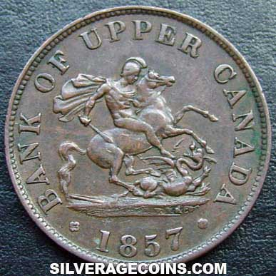 1857 Bank Of Upper Canada Half Penny Token Silveragecoins