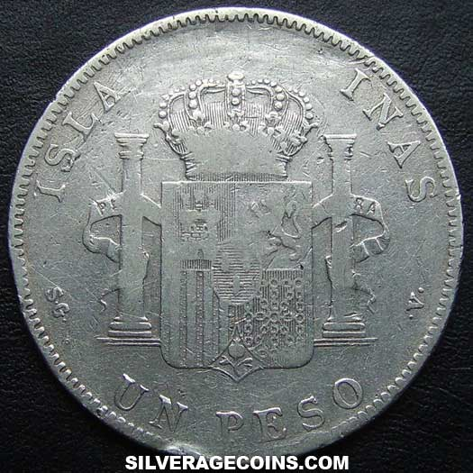 1897 SGV Alfonso XIII Philippines Silver Peso