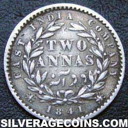 1841(c) Queen Victoria East India Company Silver 2 Annas