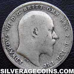 1903 Edward VII British Silver Threepence