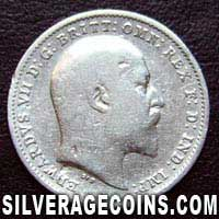 1904-1A Edward VII British Silver Threepence