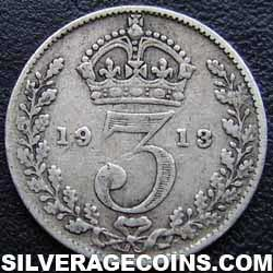 1913 George V British Silver Threepence