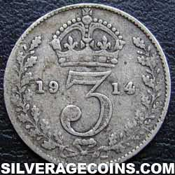 1914-3B George V British Silver Threepence