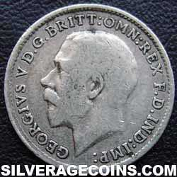 1916 George V British Silver Threepence (type 1)