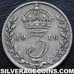1916 George V British Silver Threepence