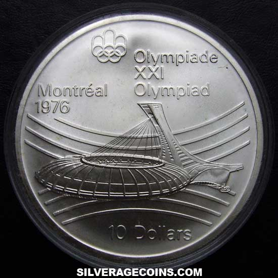 1976 Canadian Silver 10 Dollars (Montreal Olympics, Stadium)