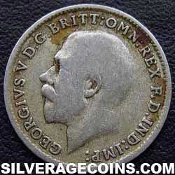 1920 George V British Silver Threepence