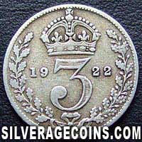 1922 George V British Silver Threepence