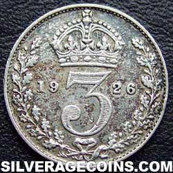 1926-4B George V British Silver Threepence