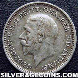"1933 George V British Silver ""Oak Reverse"" Threepence"