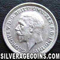 "1936 George V British Silver ""Oak Reverse"" Threepence"