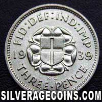 1939 George VI British Silver Threepence