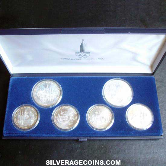 Russia XXII Summer Olympics Moscow 1980 Silver Box Set