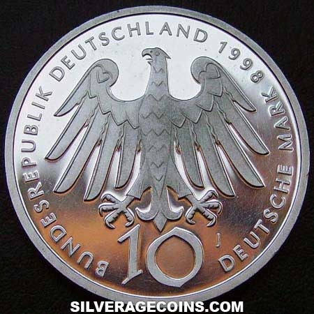 1998J Proof German Federal Republic Silver 10 Marks (Hildegard von Bingen)