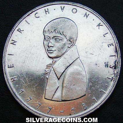 1977G German Federal Republic Silver 5 Marks (Heinrich von Kleist)