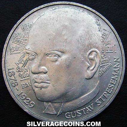 1978D German Federal Republic Silver 5 Marks (Gustav Stresemann)