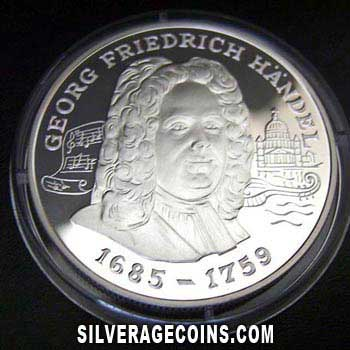 1998 Proof Andorra 10 Diners Silver Proof (George Friedrich Handel)