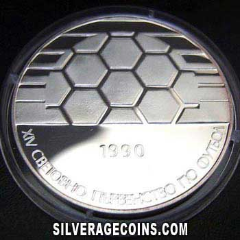 1990 Proof Bulgaria 25 Leva Silver Proof (Italy 1990 World Cup)