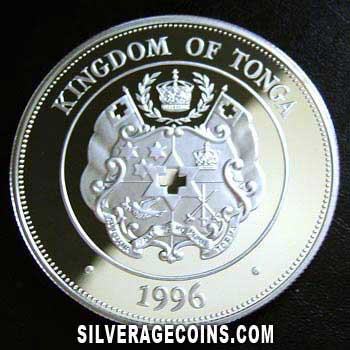 1996 Proof Tonga 1 Pa'anga Silver Proof (Queen Mother)