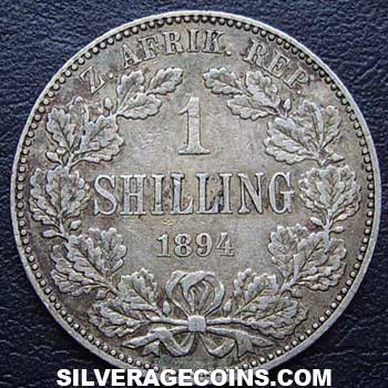 1894 South African ZAR Silver Shilling