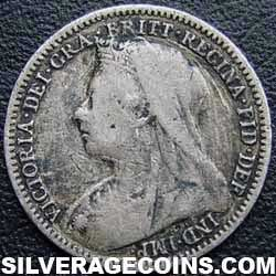 "1899 Queen Victoria British Silver ""Widow Head"" Threepence"