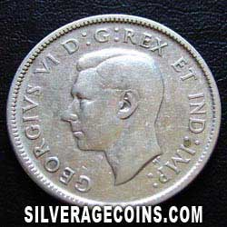 1938 George VI Canadian Silver 25 Cents