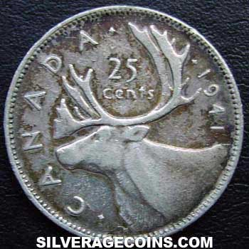 1941 George VI Canadian Silver 25 Cents