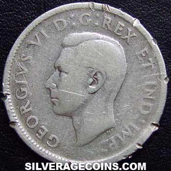 1944 George VI Canadian Silver 25 Cents